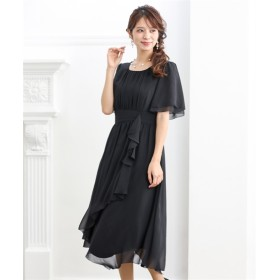 裾イレギュラーシフォンワンピースドレス【結婚式。二次会。お呼ばれ対応】<大きいサイズ> 【謝恩会・パーティドレス】