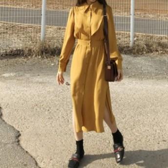 秋新作 ゆったり シフォン サイドスリット シャツ ワンピ 体型カバー マスタード 可愛い トレンド デート 大きいサイズ