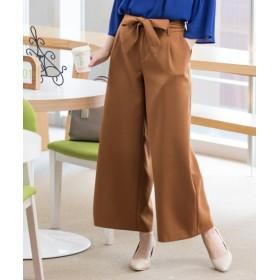 ダブルクロスウエストリボン9分丈ワイドパンツ (レディースパンツ),pants