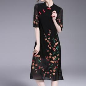 ドレスワンピース 赤 黒 ミディ丈 五分袖 刺繍 エレガント スリット 透け感 結婚式 お呼ばれ 20代 30代 40代 春夏