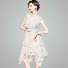 ドレスワンピース ホワイト ミディ丈 ノースリーブ 刺繍 アシンメトリー 結婚式  お呼ばれ 20代 30代 40代 春夏