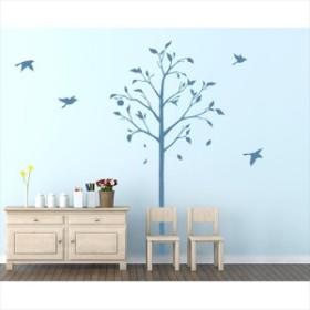 東京ステッカー 高級ウォールステッカー 植物 林檎の木と小鳥 Sサイズ *TS0051-DS ブルー  『おし