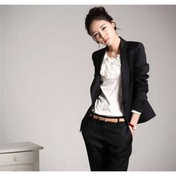 【送料無料】一つボタン レディース セットスーツ OL オフィス 就活 ビジネス 通勤 パンツスーツ 大きいサイズあり お洒落 カジュアル