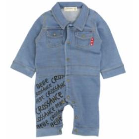 カバーオール ベビー つなぎ デニム風 男の子 ロンパース 赤ちゃん 乳児用 足付き 長袖 肌着 出産祝 全2色