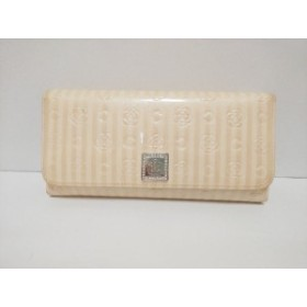 f0b233420863 クレイサス CLATHAS 長財布 レディース ベージュ×アイボリー 型押し加工/フラワー エナメル(レザー