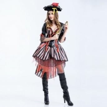 ハロウィン コスプレ 仮装 大人用 レディース  海賊 ボーダー コスチューム