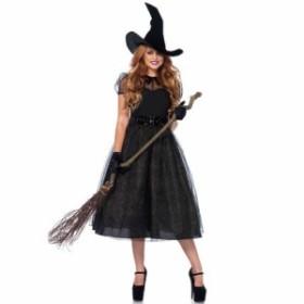 230627aed5184 コスチューム 魔女 ハロウィン コスプレ 仮装 ウィッチ 魔法使い レディース 大人用 大きいサイズ 膝丈ドレス 膝