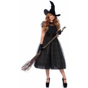 コスチューム 魔女 ハロウィン コスプレ 仮装 ウィッチ 魔法使い レディース 大人用 大きいサイズ 膝丈ドレス 膝丈ワンピース ロング