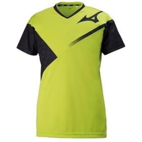 ミズノ(MIZUNO) メンズ レディース バレーボール 半袖 プラクティスシャツ ライムグリーン×ブラック V2MA8080 37 トレーニングウェア ユニフォーム 部活