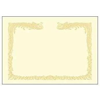 ササガワ OA賞状用紙 雲なし 縦書き用(A4・100枚) 10‐1467 (クリーム)