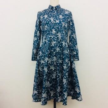 【ハンドメイドシャツワンピース】花柄ワンピース 長袖 フレアスカート 襟付き花柄切返し