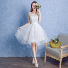 純白のウエディングドレス ひざ丈 ランダム レース レースアップ ドレス 結婚式 二次会 新作 2019