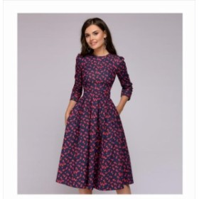【S~2XL】エレガント  A ライン 2018 ヴィンテージ プリント パーティー  3 分袖 女性の秋のドレス (ポケットなし) 70096