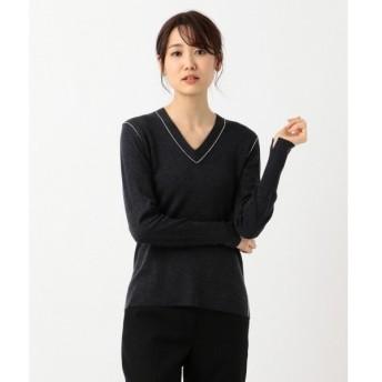 L size ONWARD(大きいサイズ) / エルサイズオンワード 【シルク・カシミヤ混】Wool Silk Cashmere Vネックニット