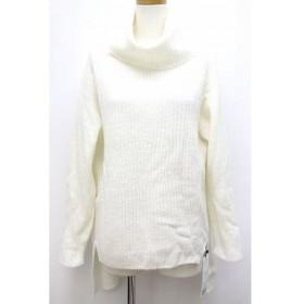 未使用品 ココディール COCO DEAL セーター ニット チュニック丈 無地 シンプル ラグランスリーブ タートルネック 2 ホワイト 白