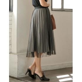 ひざ丈スカート - Re: EDIT ふんわりシアーなチュールの魅力。リバーシブルで2つの着こなしが楽しめる レイヤード風チュールプリーツスカートボトムス/スカート/ロング・マキシ丈(76cm~)