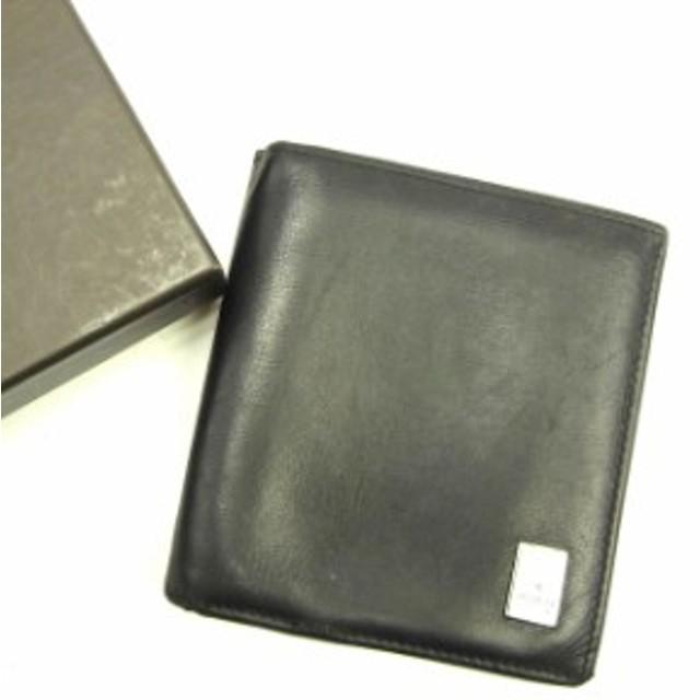 78209b70b625 グッチ GUCCI 二つ折り財布 財布 小物 サイフ メンズ ロゴプレート 【中古】 Y6867
