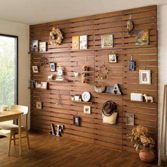 パイン天然木突っ張り式 デコレーション壁面ラック 幅60cmダークブラウン