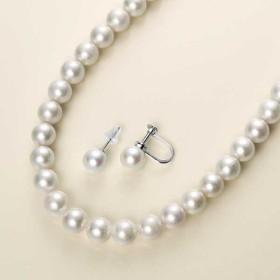 【送料無料】本真珠ネックレスセット(7.5-8mm珠) ピアス イヤリング -