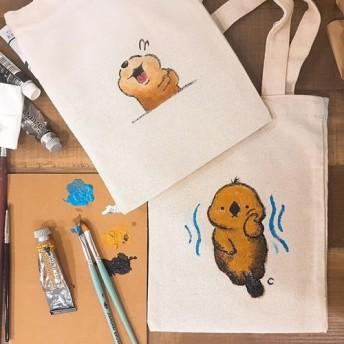 [トートキャンバスとして]手描きのキャンバスバッグ