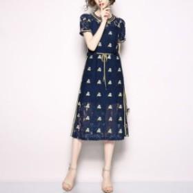 夏の上品スタイル レース刺繍 ワンピース オシャレ かわいい デート 春 夏 人気 コーデ