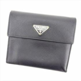 b2280d2e8ce3 プラダ PRADA 三つ折り 財布 小物 財布 サイフ レディース メンズ 可 トライアングルロゴ 【中古】