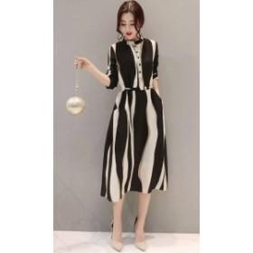 オルチャン 韓国 ファッション パーティードレス ワンピース 大きいサイズ シフォン ミモレ丈 ストライプ きれいめ フォーマル 結婚式 二