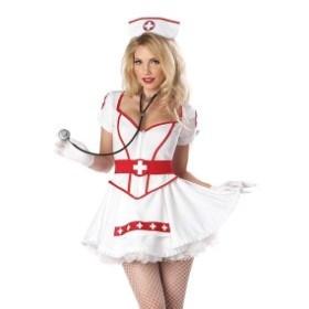 ハロウィンに大活躍 コスチューム ナース 看護師 セクシー ミニドレス 仮装 コスプレ レディース ホワイ セットアップ 大きいサイズ