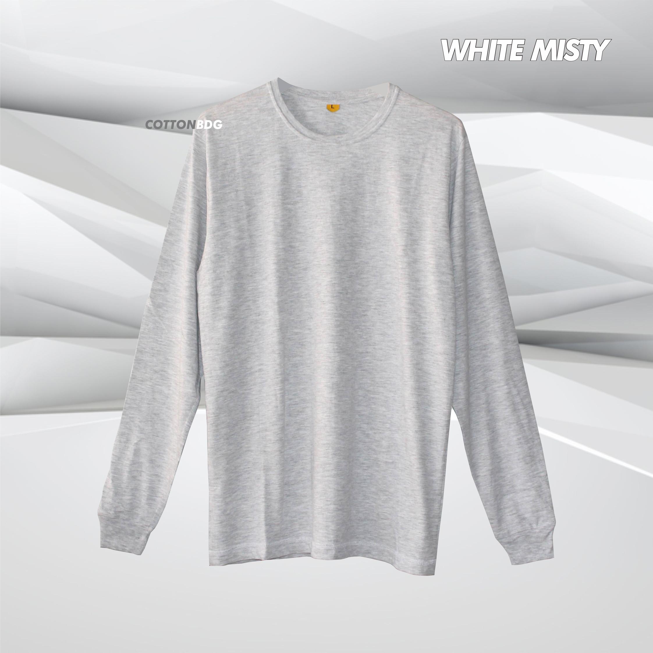 Cottonbdg Shop Line Kaos Polos Black Misty Lengan Panjang White