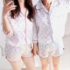 ルームウェア パジャマ シャツ 上下セット 半袖 水玉 ドット ショートパンツ ガーリー 女子会 春夏