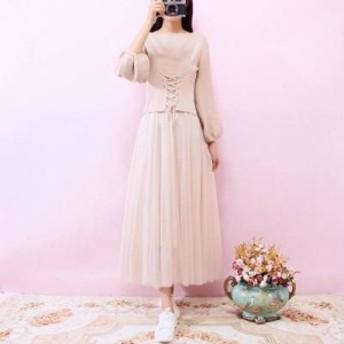 【送料無料】 コルセット風ニット×チュールスカートがかわいいセットアップ 全3色