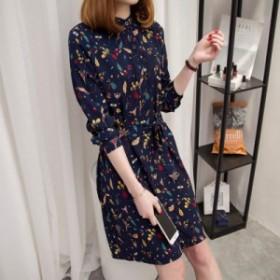 レトロ 可愛い 花柄 ワンピース ミディ丈 ひざ丈 長袖 秋 人気 スカート 大きいサイズ コーデ ゆったり