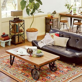 ベルーナインテリア お洒落なビンテージアイアンリビング家具<リビングボード・テレビボード・センターテーブル・テレビ台> ブラウン 伸縮テレビボード幅80