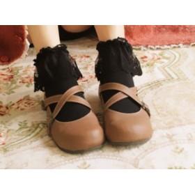 ロリータファッション lolita ロリィタ ロリータ Rotate Ballet くるぶしフリルソックス 脚長効果 甘ロリ 白ロリ 黒ロリ ピンク ブラック