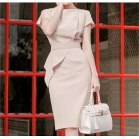 淡いピンクが可愛らしい コンサバ系清楚ワンピース 送料無料 お呼ばれ 大人かわいい ワンピース 結婚式 ドレス フォーマルドレス 演奏会