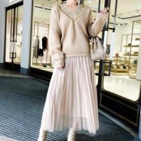 オトナ可愛くキマる Vネックセーター&プリーツチュールスカート セットアップ 送料無料 お呼ばれ 大人かわいい ワンピース 結婚式 20代