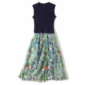 ノースリーブリブニットと花刺繍がかわいいレースのひざ丈フレアワンピース 送料無料 お呼ばれ 大人かわいい ワンピース 結婚式 ドレス
