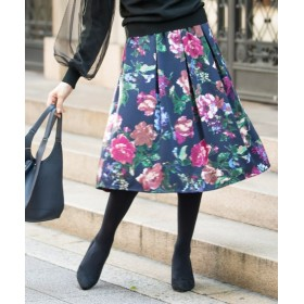 花柄フレアミディ丈スカート (ひざ丈スカート),skirt