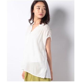 INTERPLANET 異素材スキッパーシャツ(オフホワイト)【返品不可商品】