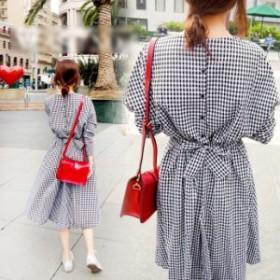 シンプル チェックロングワンピース 韓国 韓国ファッション 韓国スタイル レディース トレンド  送料無料