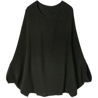 Ranan 綿100%ゆったりニットプルオーバー(ブラック)