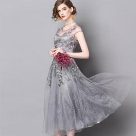 レース刺繍入りモノトーンミディ丈ドレス 送料無料 お呼ばれ 大人かわいい ワンピース 結婚式 ドレス フォーマルドレス パーティードレス