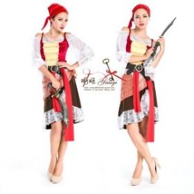 海賊 パイレーツ ベルト スカーフ かっこいい レース ラップスカート  ミディアム丈 送料無料 お呼ばれ 大人かわいい ワンピース 結婚式