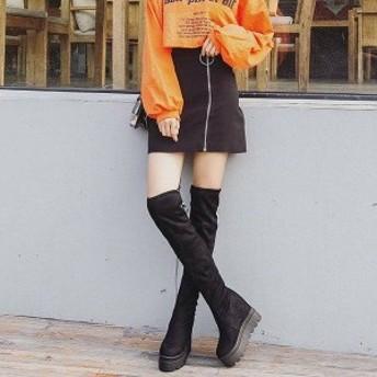 2018秋冬新作欧米風 レディースロングブーツ10cm厚底運動風ブーツ靴着痩せ効果 ストレッチロングブーツ 裏薄いファーの大きいサイズCX011