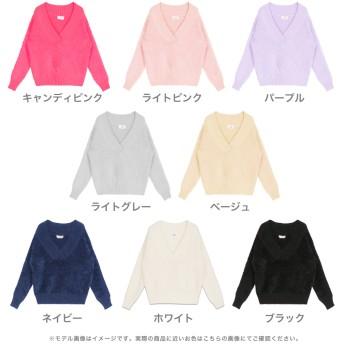 ニット・セーター - JULIA BOUTIQUE 色っぽVネックモヘアタッチニットチュニック・セーター/16338