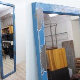 オールドチーク材のミラー 170cm×45cm 姿見鏡 アンティークブルー 青色 古材フレーム 無垢材 古木