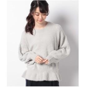 Melan Cleuge フェザー刺繍ぺプラムニットプルオーバー(グレー)【返品不可商品】