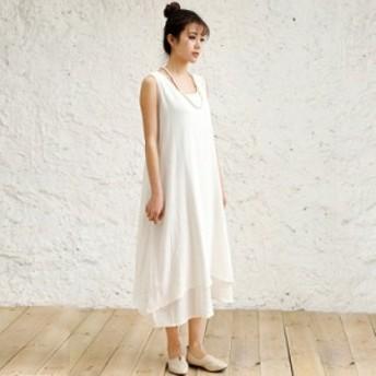 サマードレス ワンピース マキシ丈 5色揃い 森ガール フレア ノースリーブ 白ワンピ ロング 送料無料