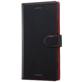 レイ・アウト Xperia XZ1 手帳型ケース シンプル マグネット ブラック/レッド RT-RXZ1ELC1/BR