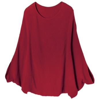 Ranan 綿100%ゆったりニットプルオーバー(レッド)